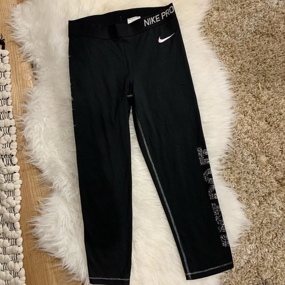 Nike Pants - EUC Nike Pro Black and Silver 7/8 Running Tights🌟